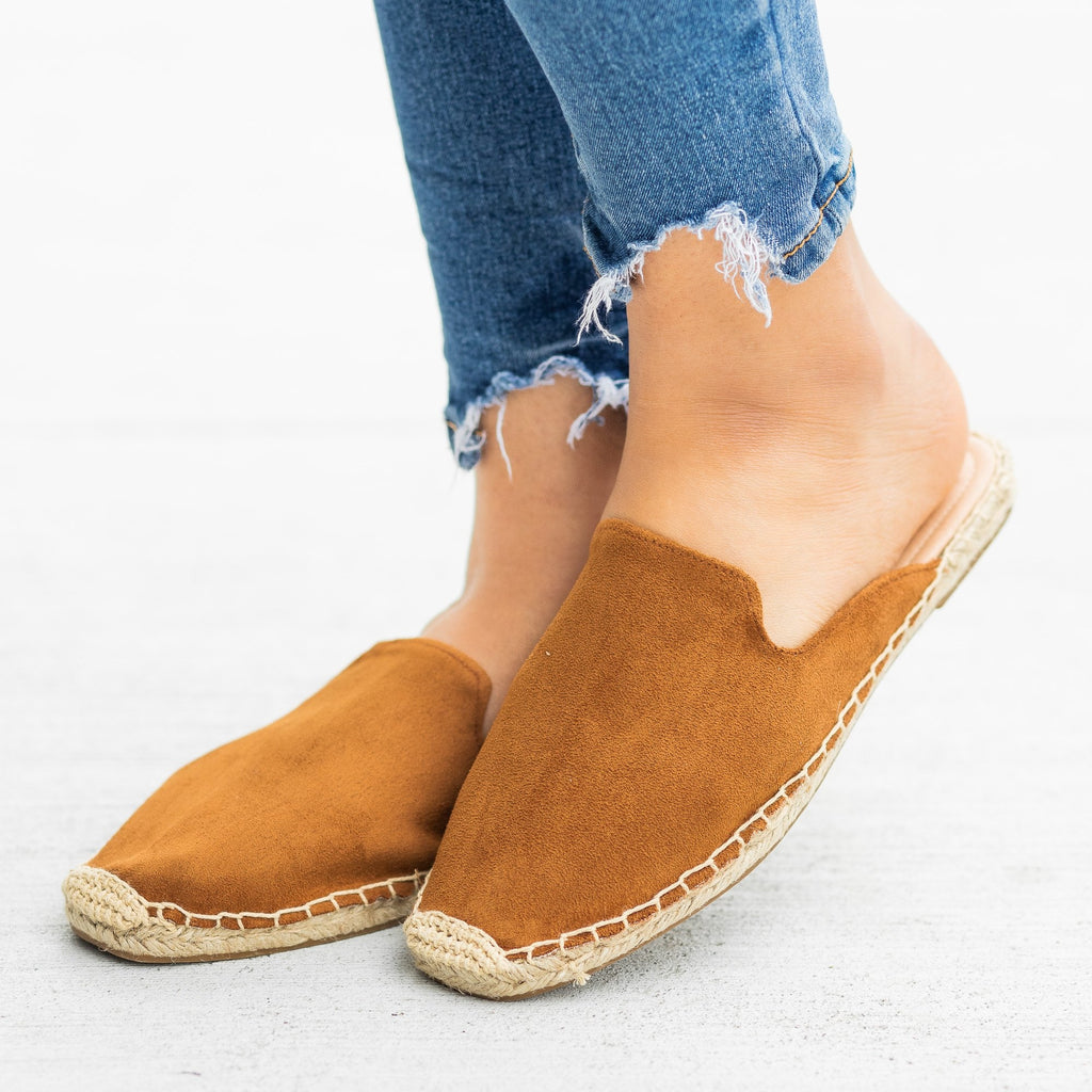 Womens Espadrille Mule Flats - Soda Shoes