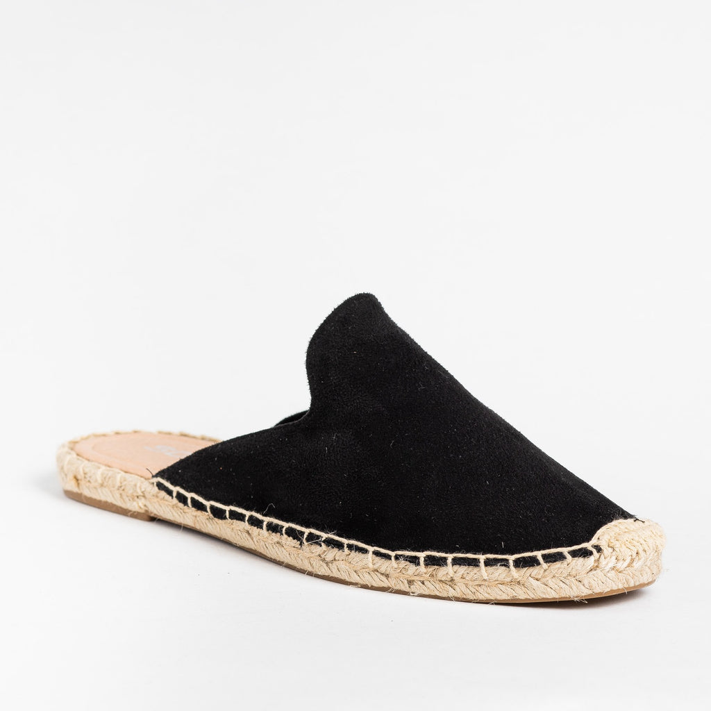 Womens Espadrille Mule Flats - Soda Shoes - Black / 5