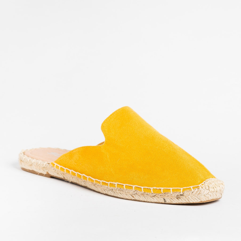 Womens Espadrille Mule Flats - Soda Shoes - Mustard / 5