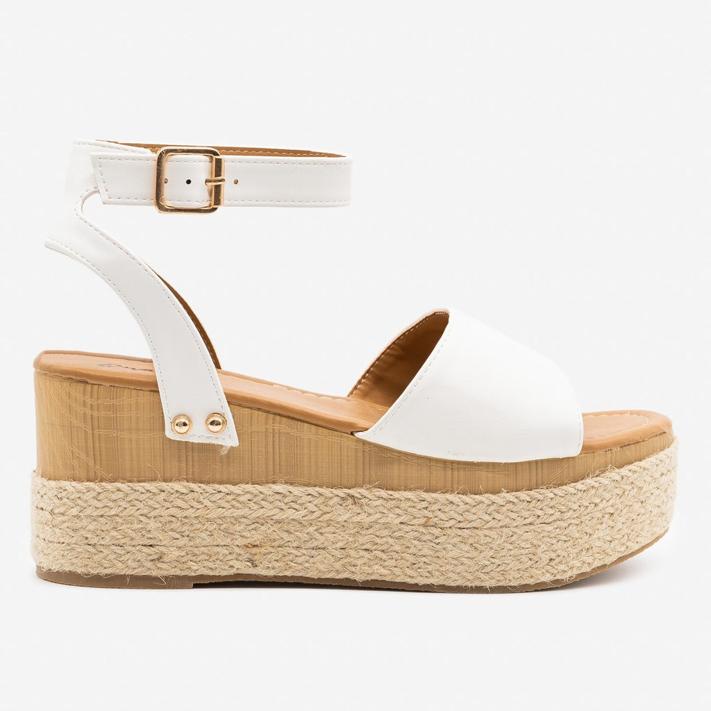 Women's Espadrille Platform Wedge Sandals - Qupid Shoes - White / 5
