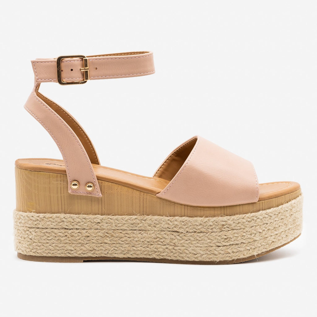 Women's Espadrille Platform Wedge Sandals - Qupid Shoes - Pink / 5