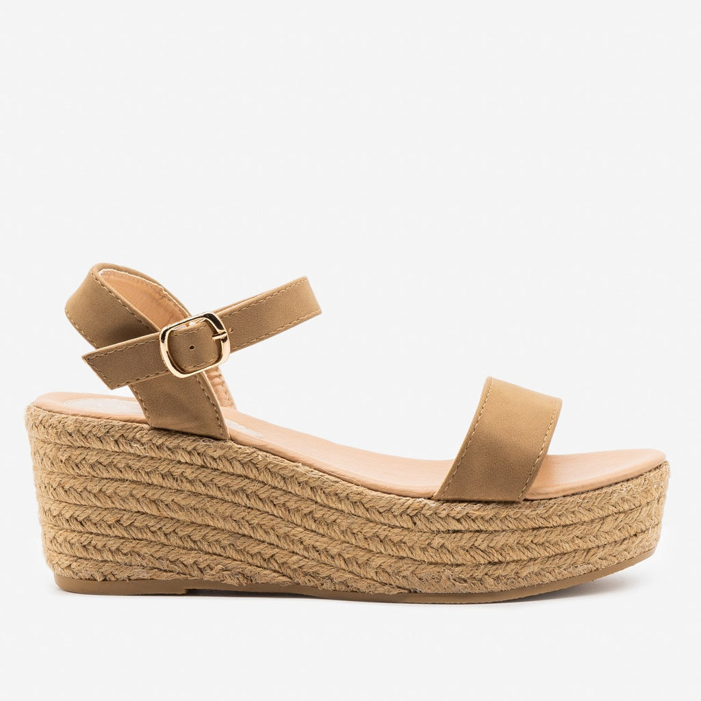 Women's Espadrille Platform Wedge Sandals - Refresh - Camel / 5