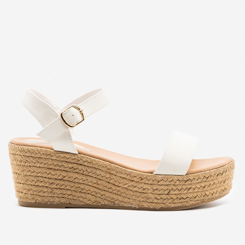 Women's Espadrille Platform Wedge Sandals - Refresh - White / 5
