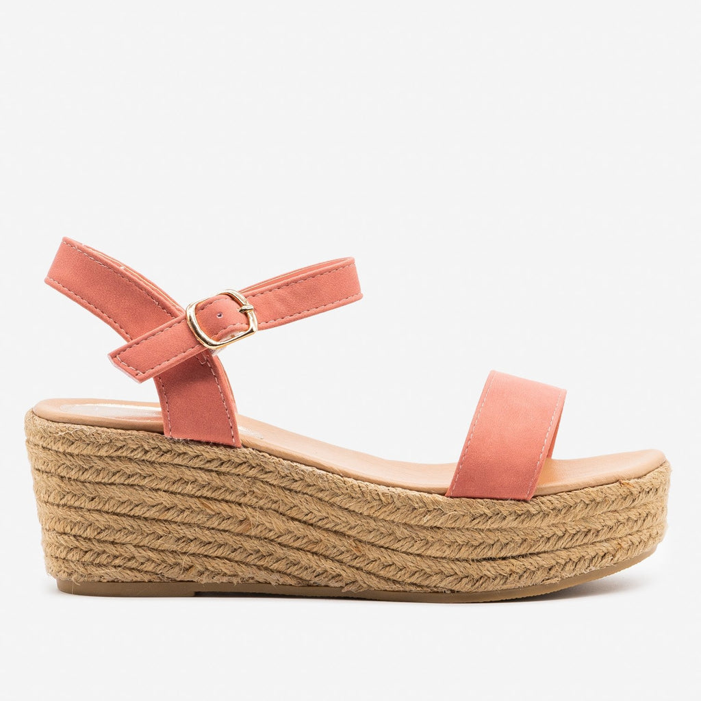 Women's Espadrille Platform Wedge Sandals - Refresh - Coral / 5