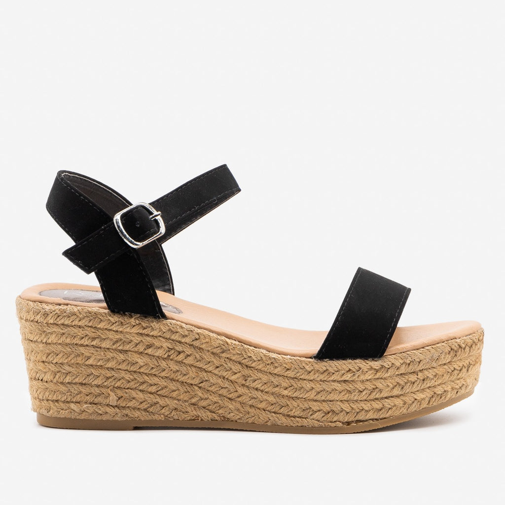 Women's Espadrille Platform Wedge Sandals - Refresh - Black / 5