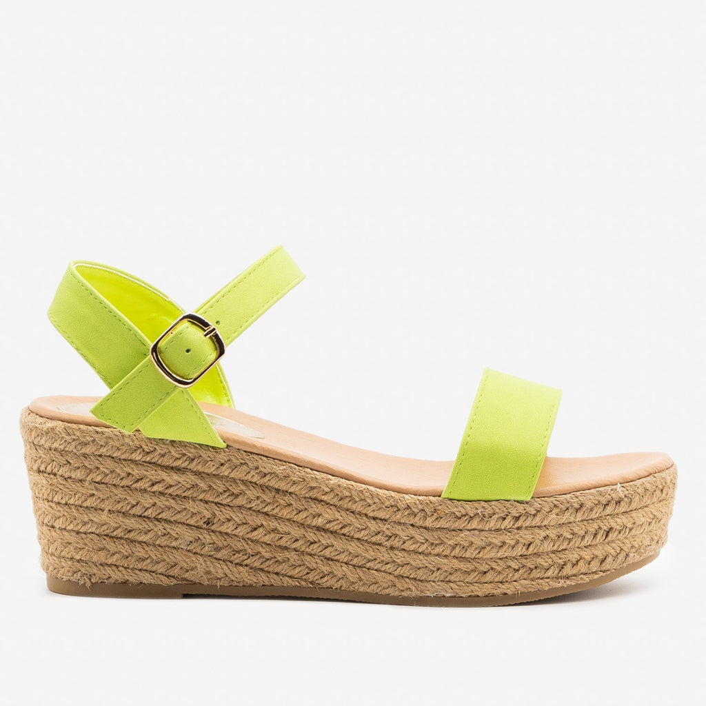 Women's Espadrille Platform Wedge Sandals - Refresh - Lime / 5