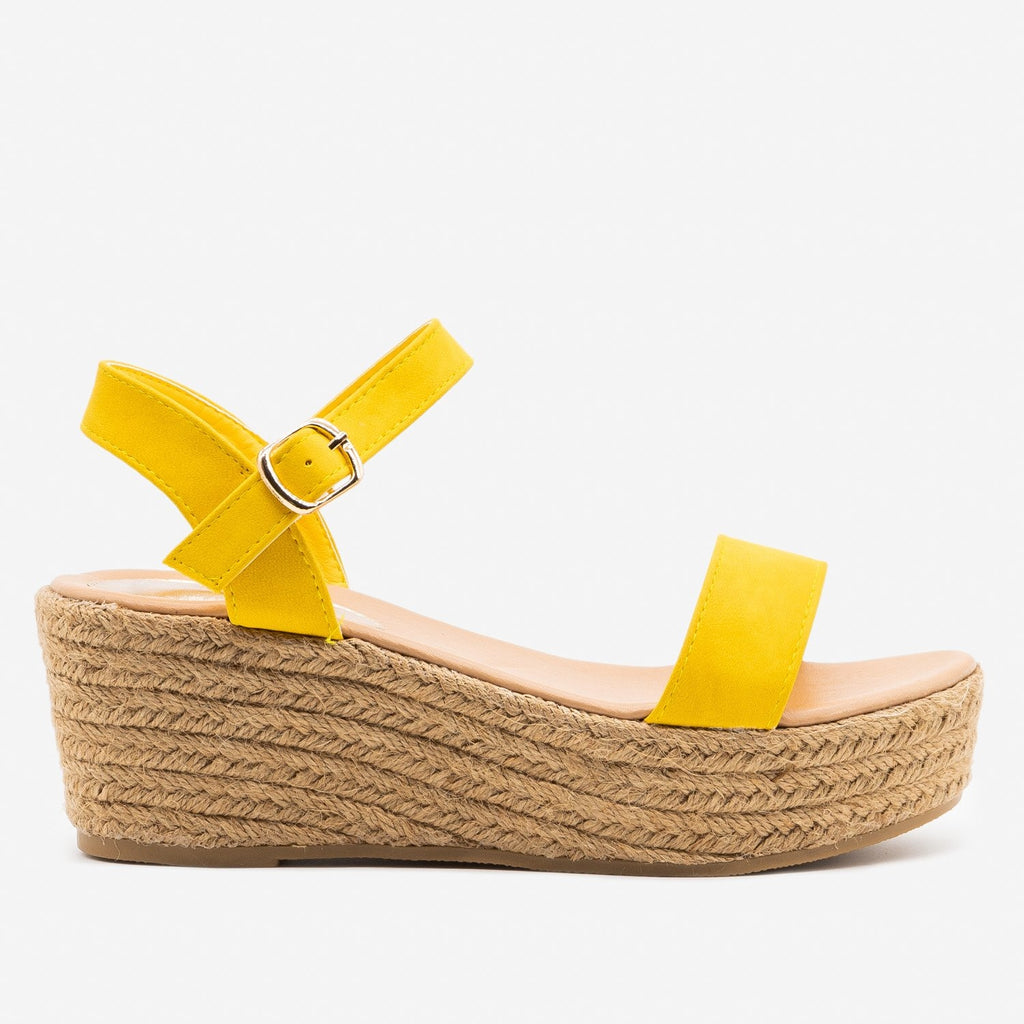 Women's Espadrille Platform Wedge Sandals - Refresh - Yellow / 5