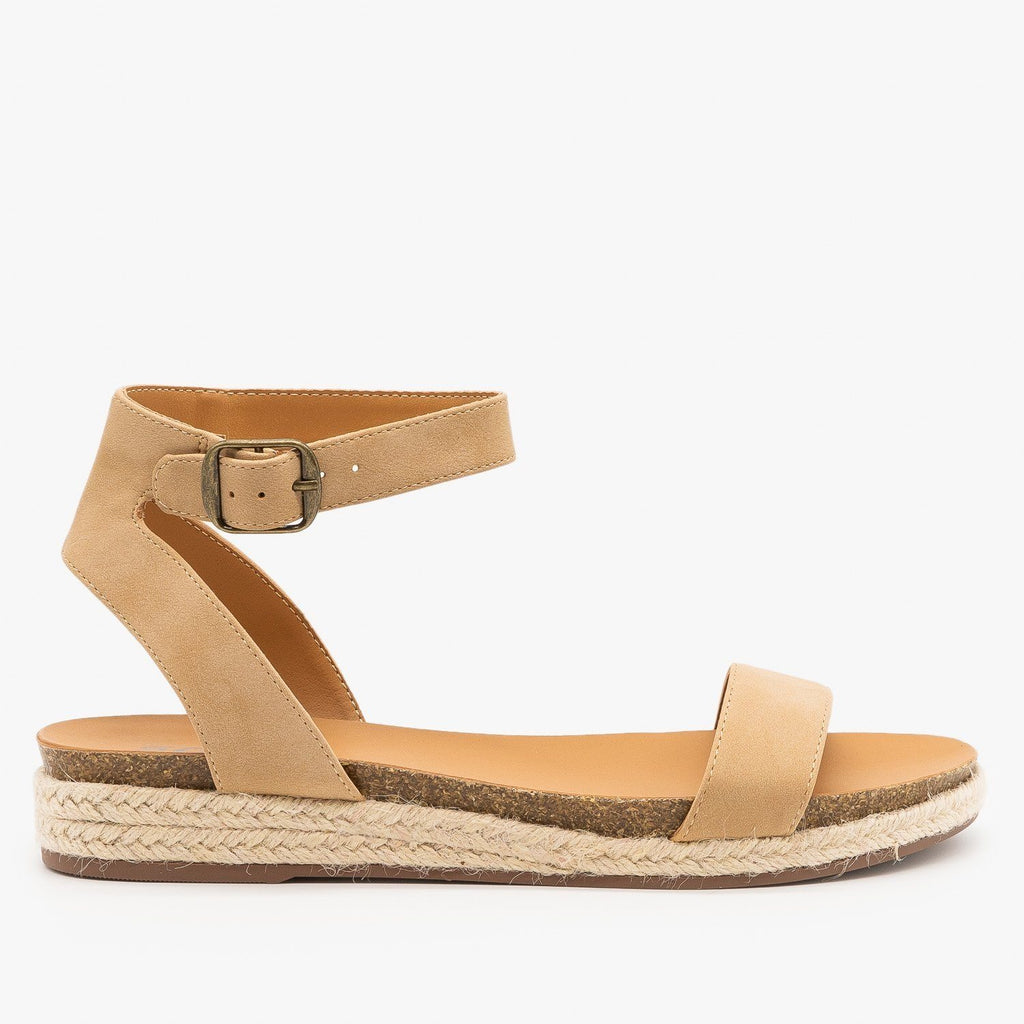 Womens Espadrille Sandal Wedges - City Classified Shoes - Natural / 5
