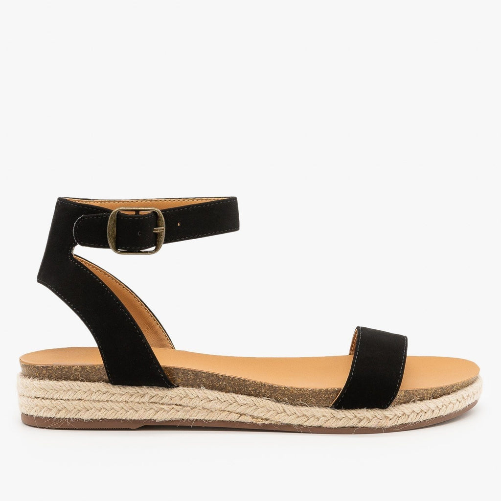 Womens Espadrille Sandal Wedges - City Classified Shoes - Black / 5