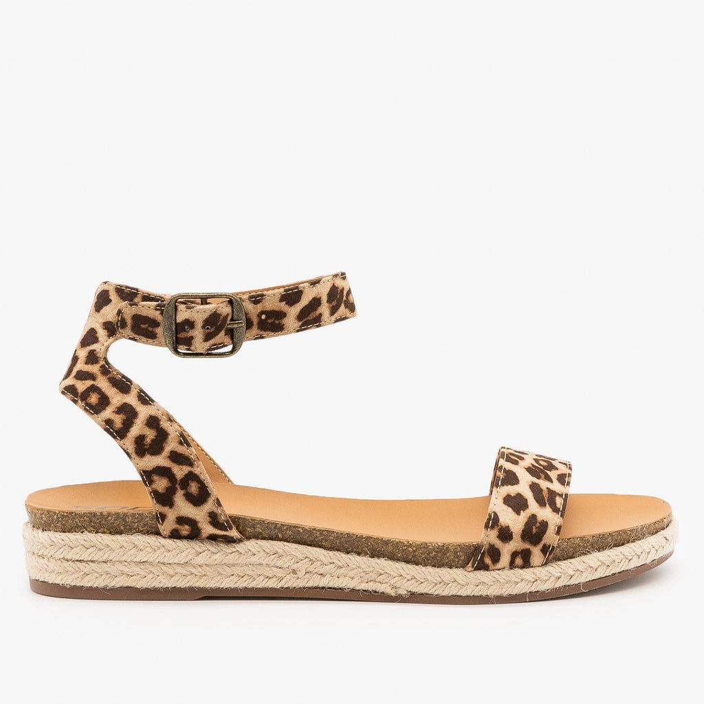 Womens Espadrille Sandal Wedges - City Classified Shoes - Oatmeal Cheetah / 5