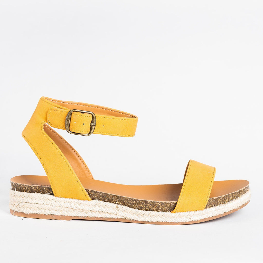 Womens Espadrille Sandal Wedges - City Classified Shoes - Mustard / 5