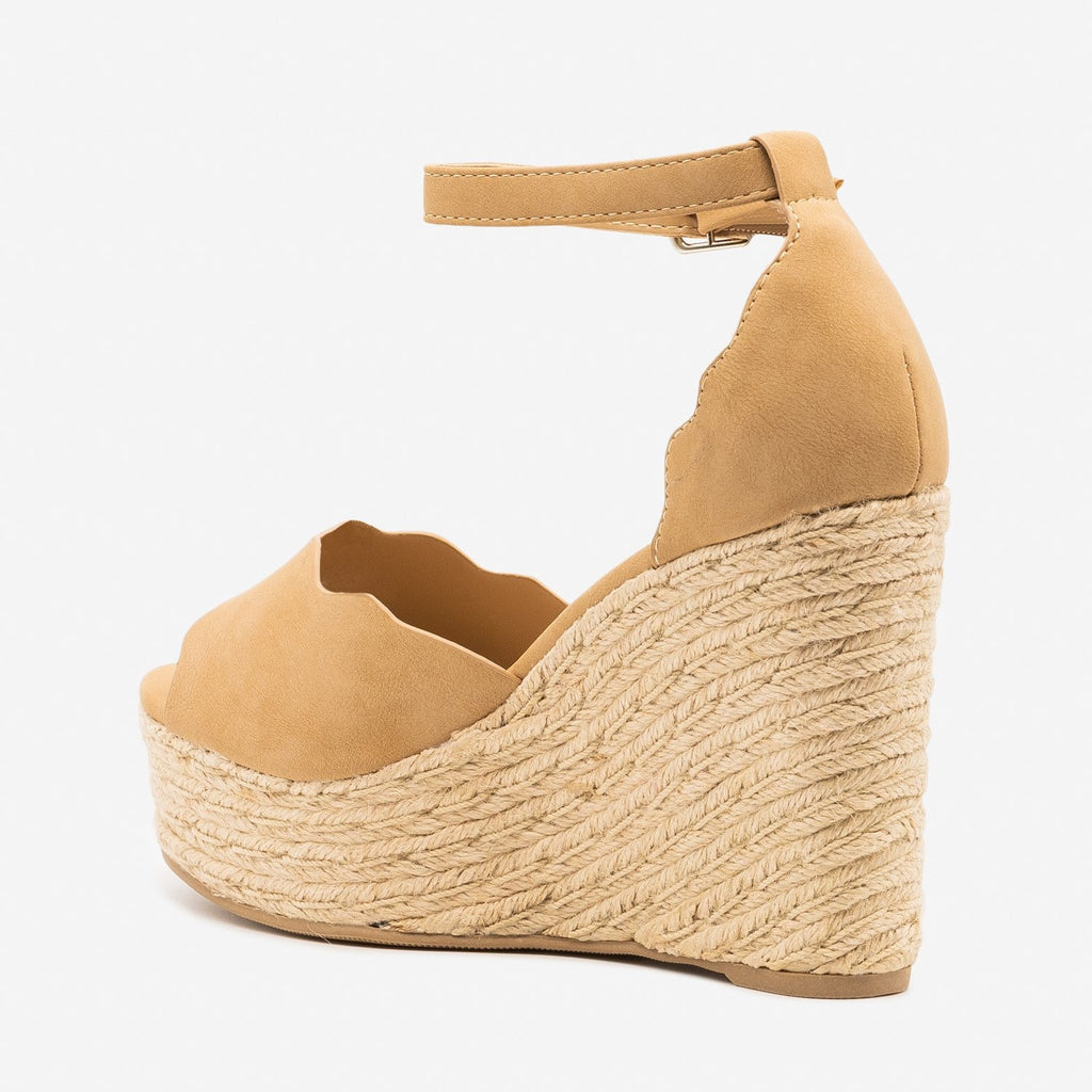 Women's Espadrille Scalloped Sandal Wedges - Soda Shoes