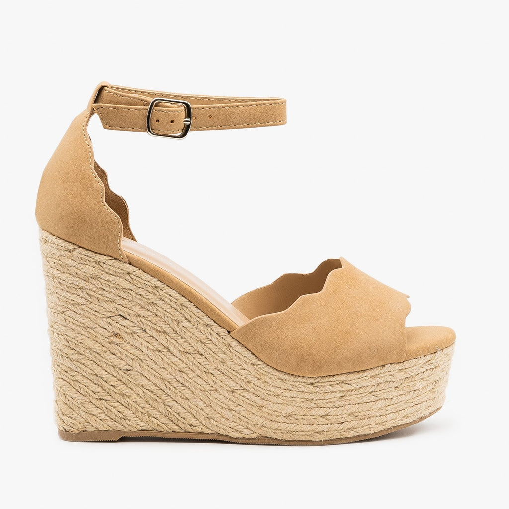 Womens Espadrille Scalloped Sandal Wedges - Soda Shoes - Natural / 5