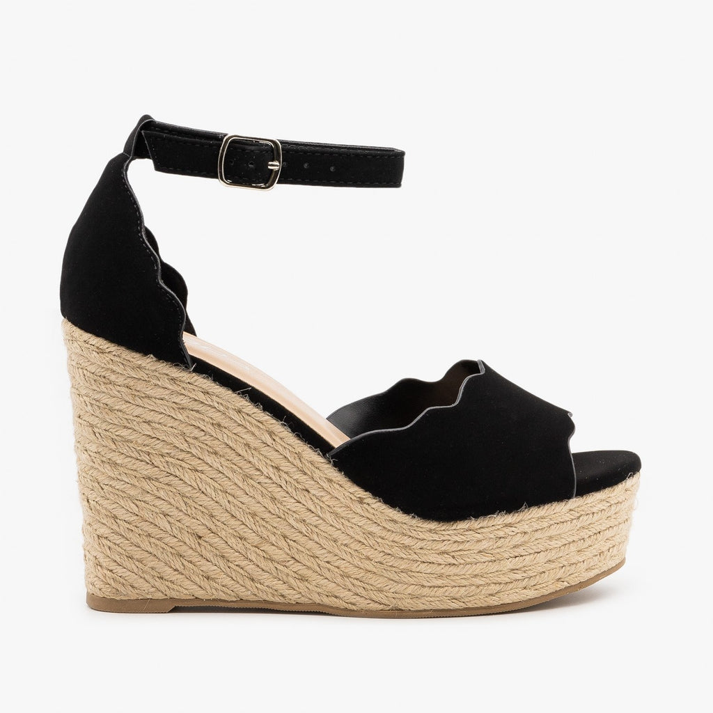 Womens Espadrille Scalloped Sandal Wedges - Soda Shoes - Black / 5