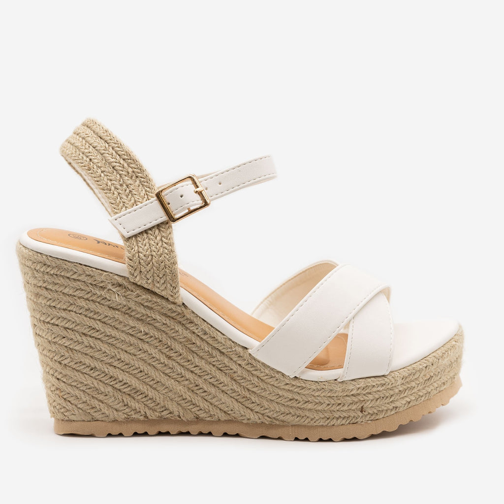 Women's Espadrille Slingback Wedge Sandals - Nature Breeze - White / 5