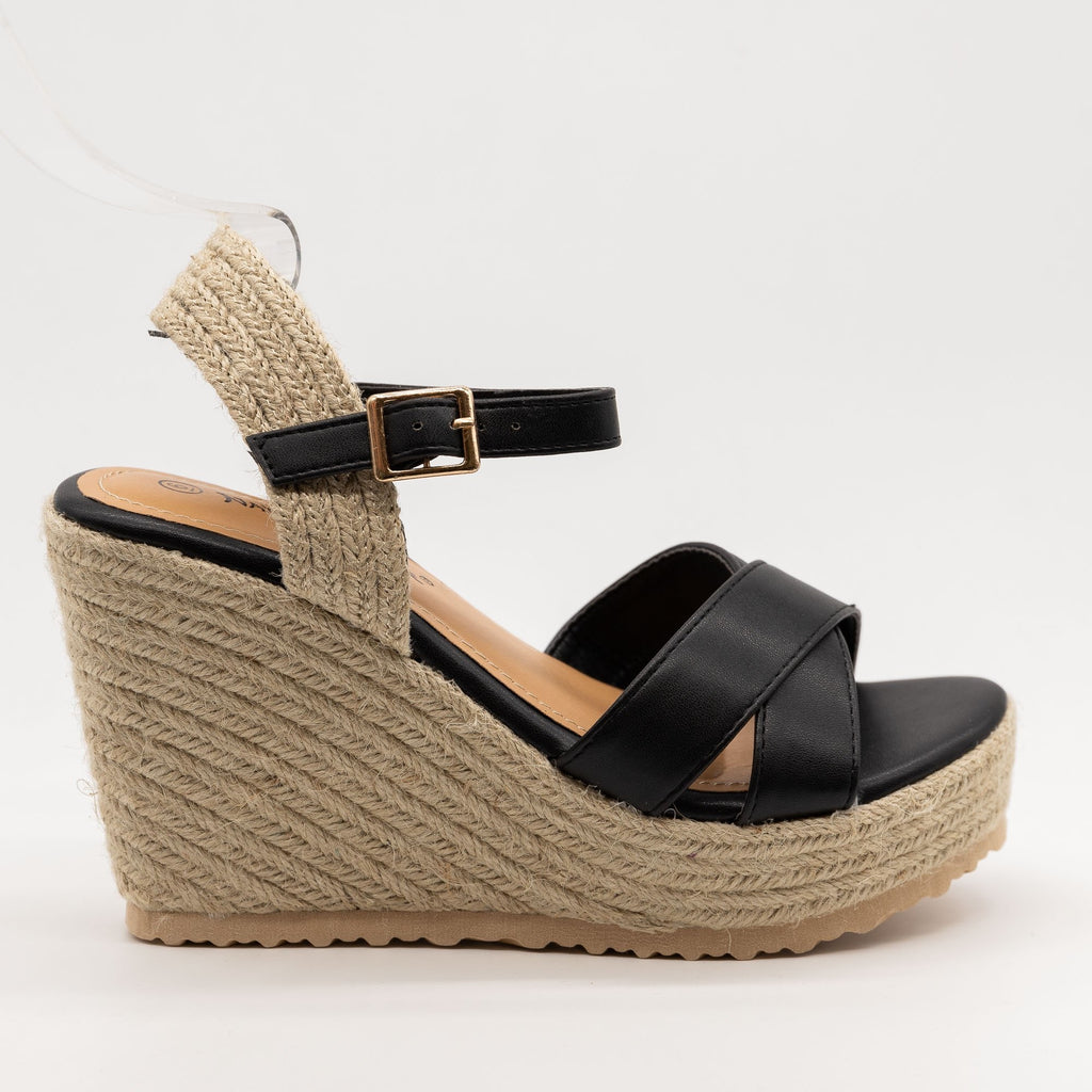 Women's Espadrille Slingback Wedge Sandals - Nature Breeze - Black / 5