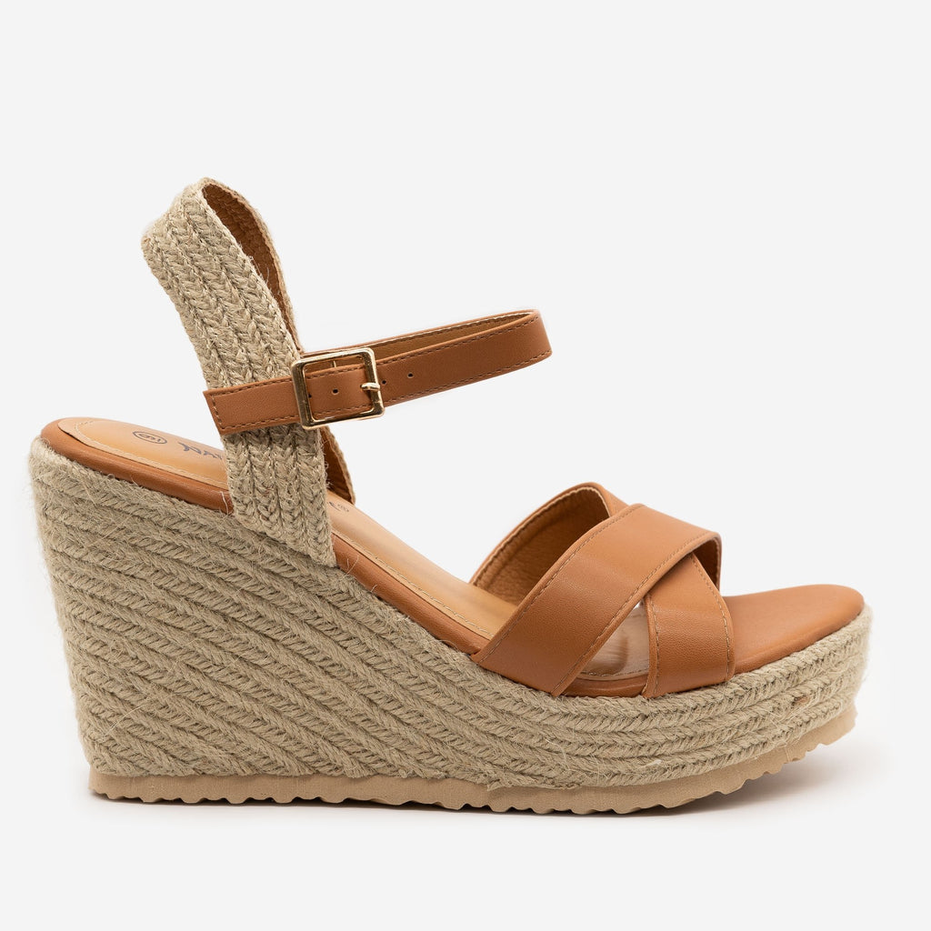 Women's Espadrille Slingback Wedge Sandals - Nature Breeze - Camel / 5