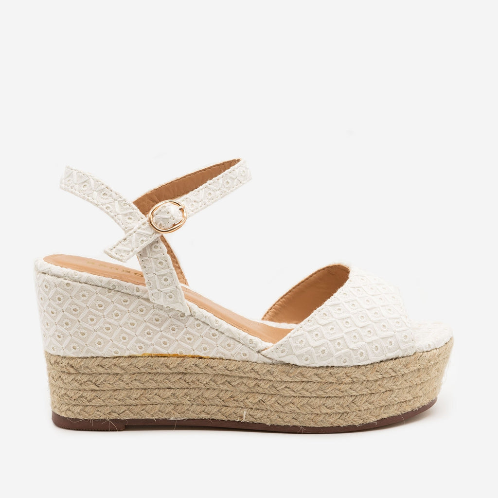 Women's Espadrille Slingback Wedges - Bamboo Shoes - White / 5