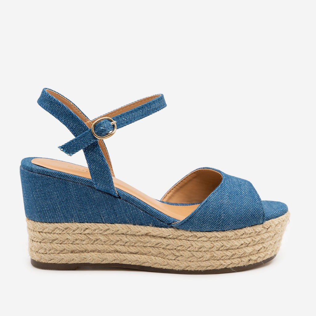 Women's Espadrille Slingback Wedges - Bamboo Shoes - Blue Denim / 5