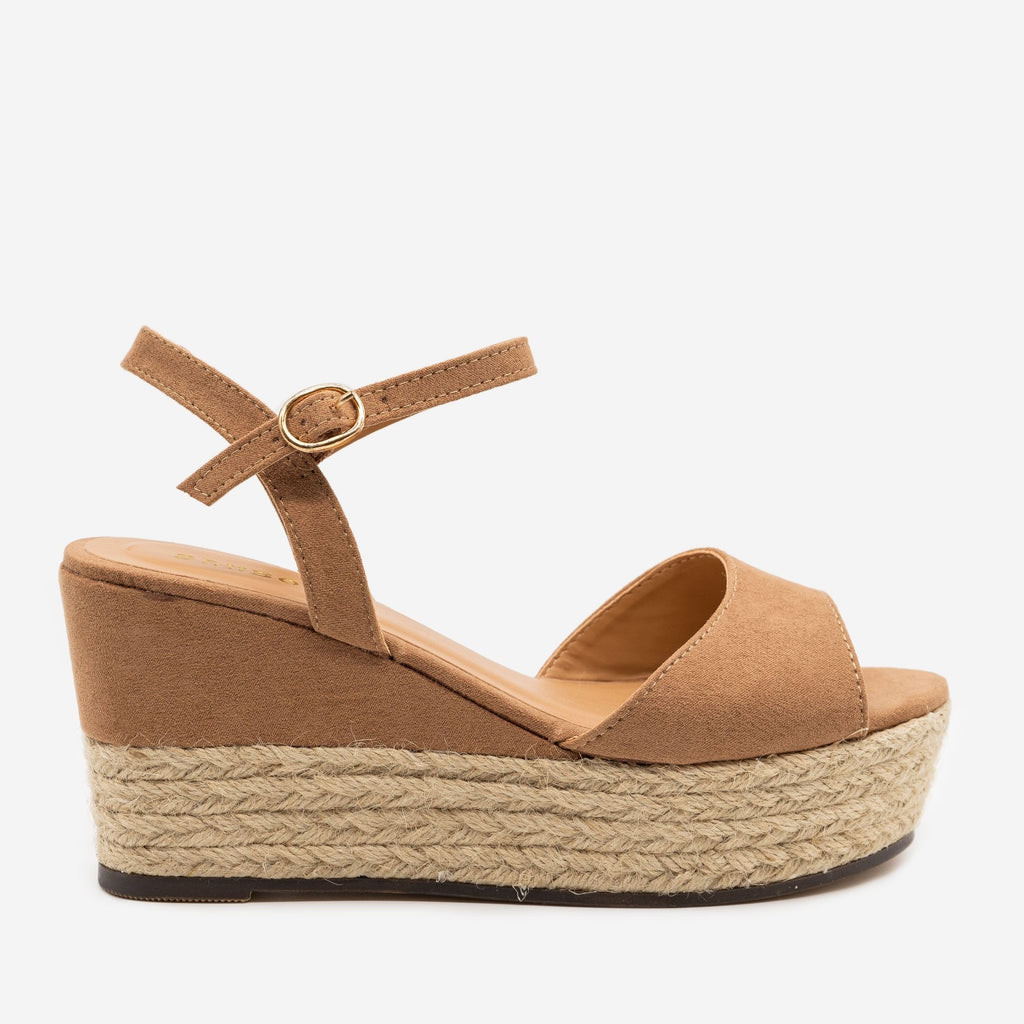 Women's Espadrille Slingback Wedges - Bamboo Shoes - Camel / 5