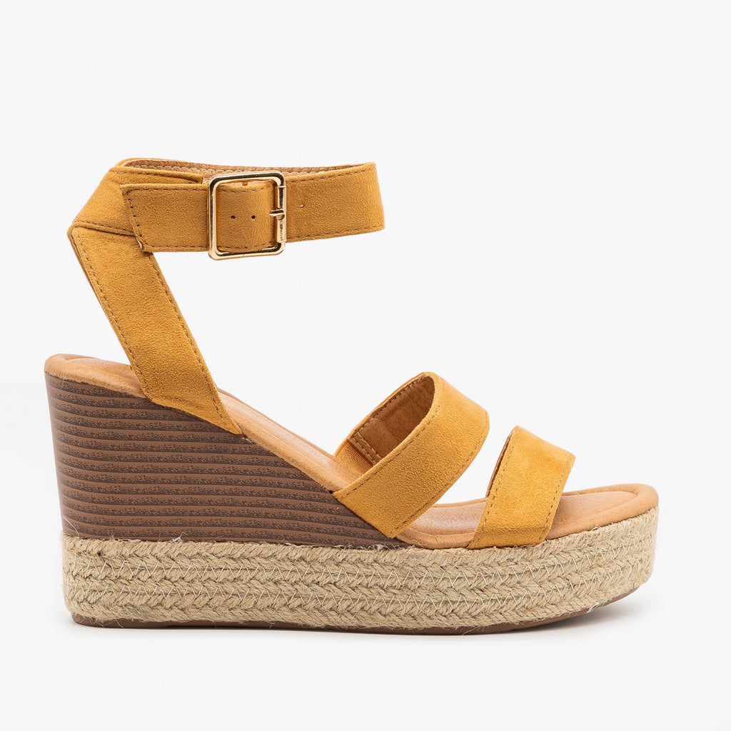 Womens Espadrille Stacked Wedge Sandals - Bella Marie - Tan / 5