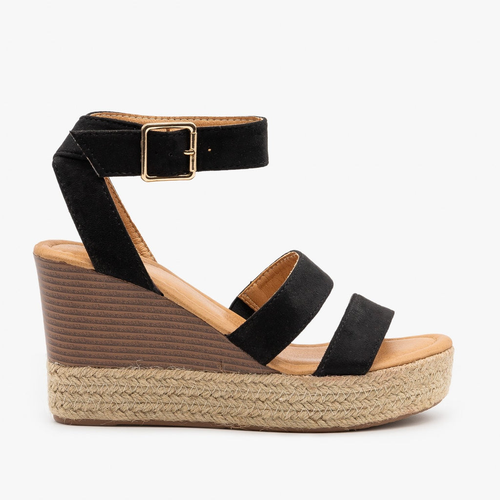 Womens Espadrille Stacked Wedge Sandals - Bella Marie - Black / 5