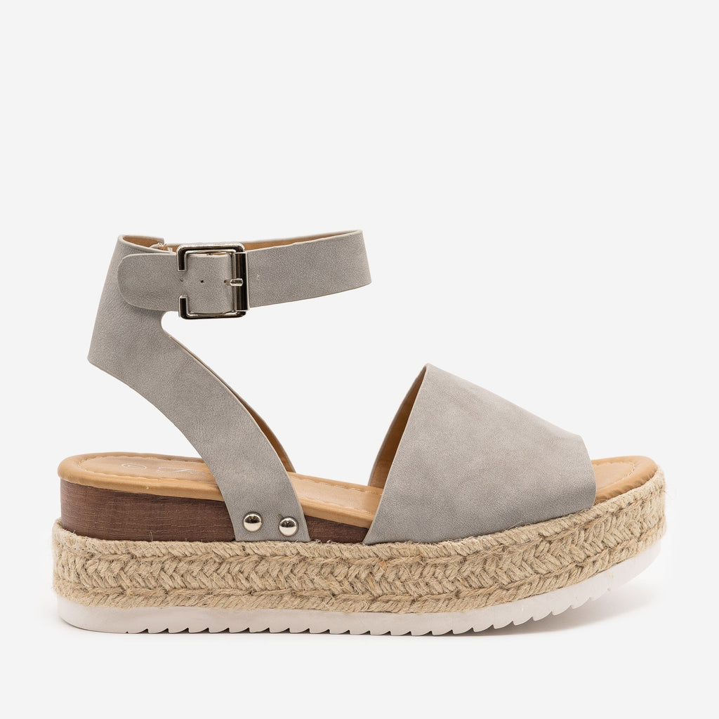 Women's Espadrille Stacked Wedge Sandals - Forever - Gray / 5