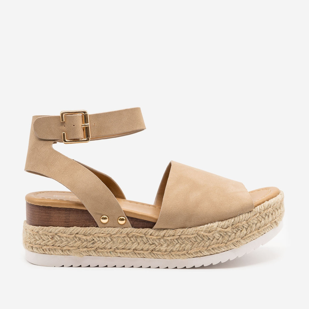 Women's Espadrille Stacked Wedge Sandals - Forever - Taupe / 5