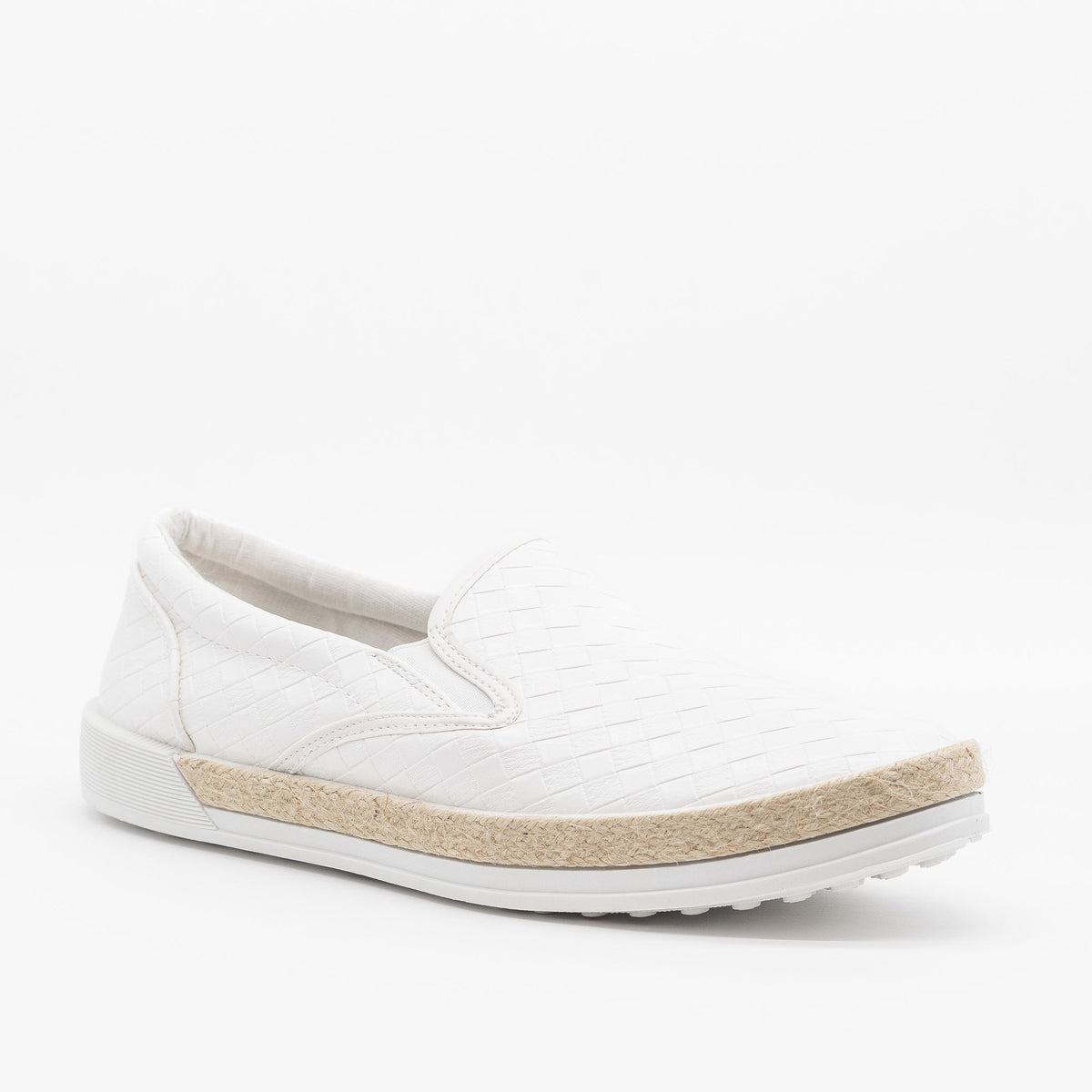 white quilted slip on sneakers