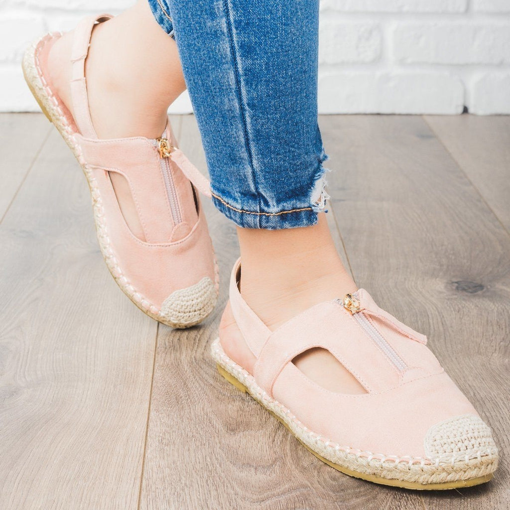 Womens Espadrille Zip-Up Slingback Flats - Cherish - Blush / 5