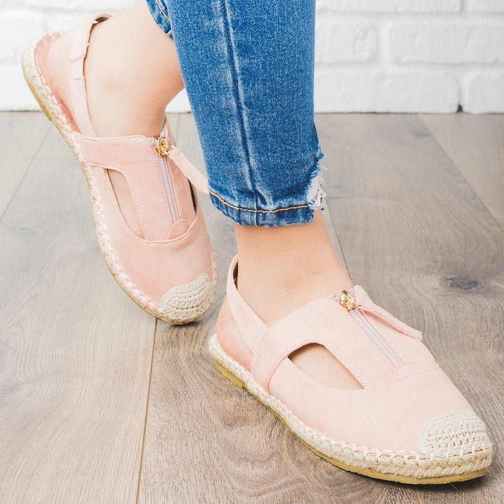 Womens Espadrille Zip-Up Slingback Flats - Cherish - Blush / 9
