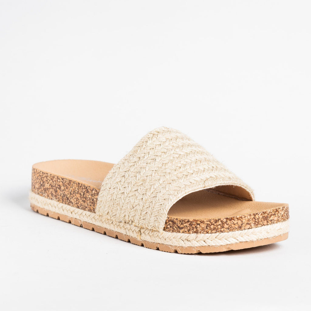 Womens Esparto Strap Cork Slip-On Sandals - Forever - Natural / 5