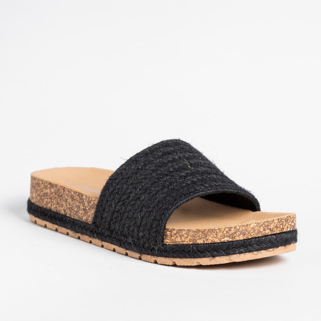 Womens Esparto Strap Cork Slip-On Sandals - Forever - Black / 5