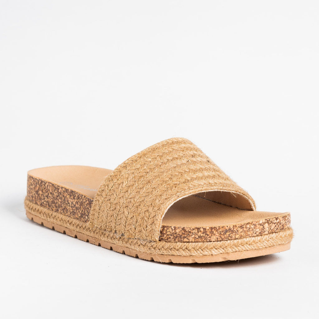 Womens Esparto Strap Cork Slip-On Sandals - Forever - Tan / 5