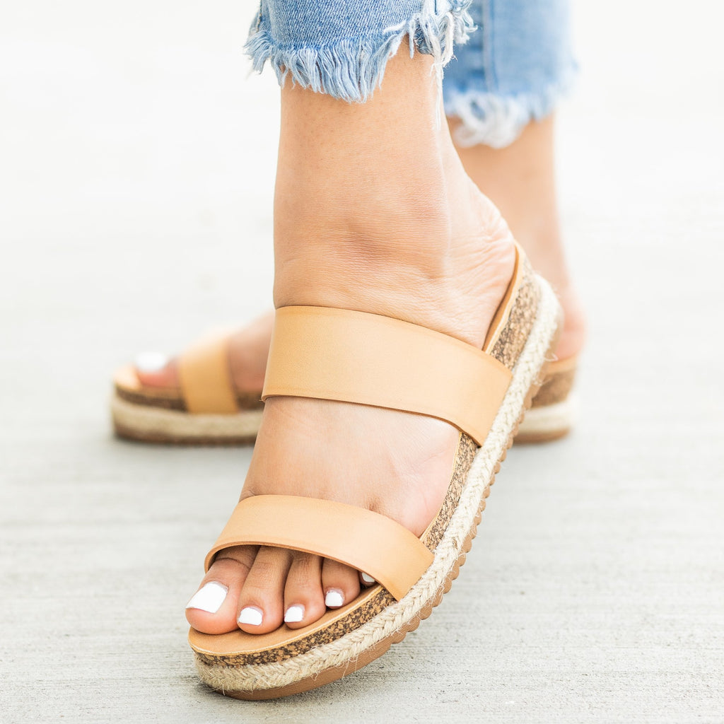 Womens Esparto Trim Cork Sandals - Bella Marie