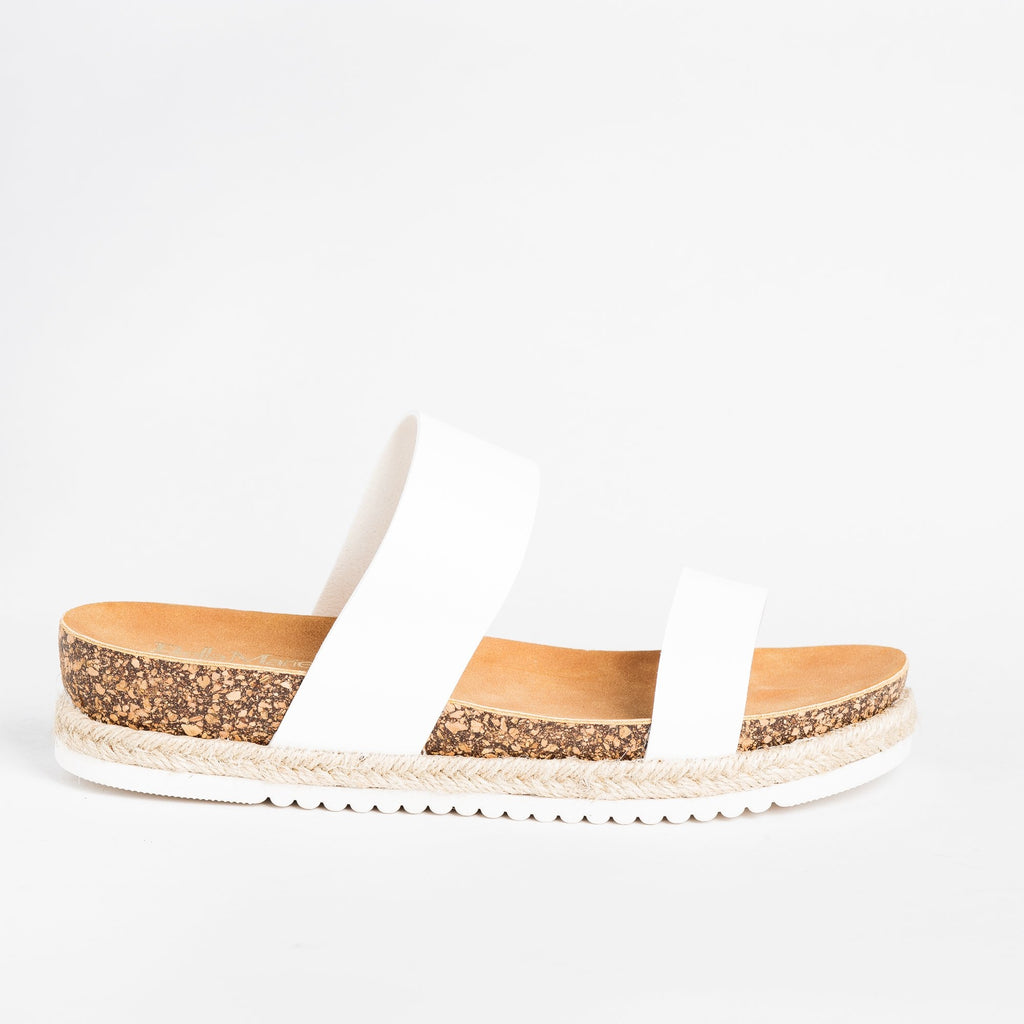 Womens Esparto Trim Cork Sandals - Bella Marie - White / 5