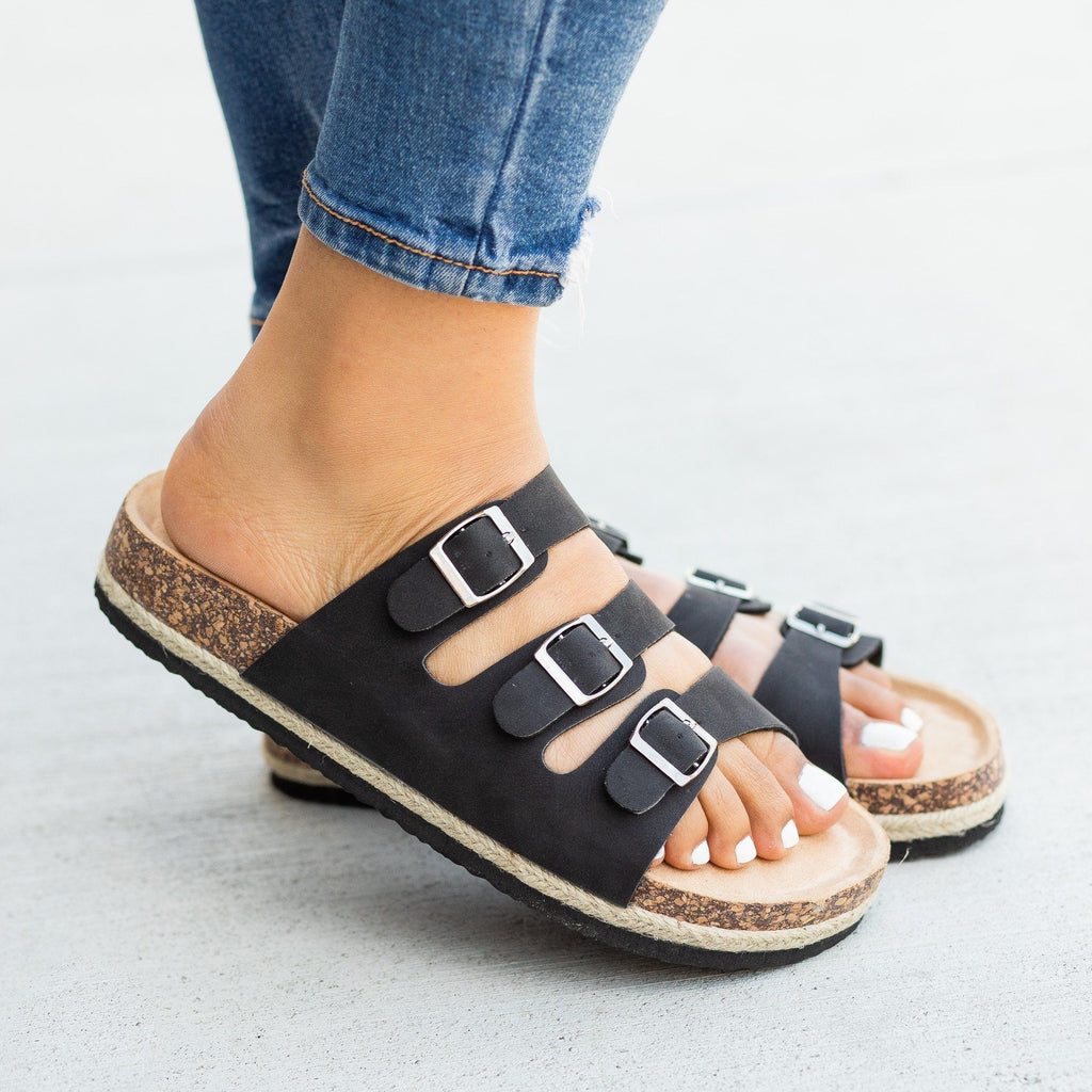 Womens Esparto-Trimmed Cork Slides - Soho Girls - Black / 5