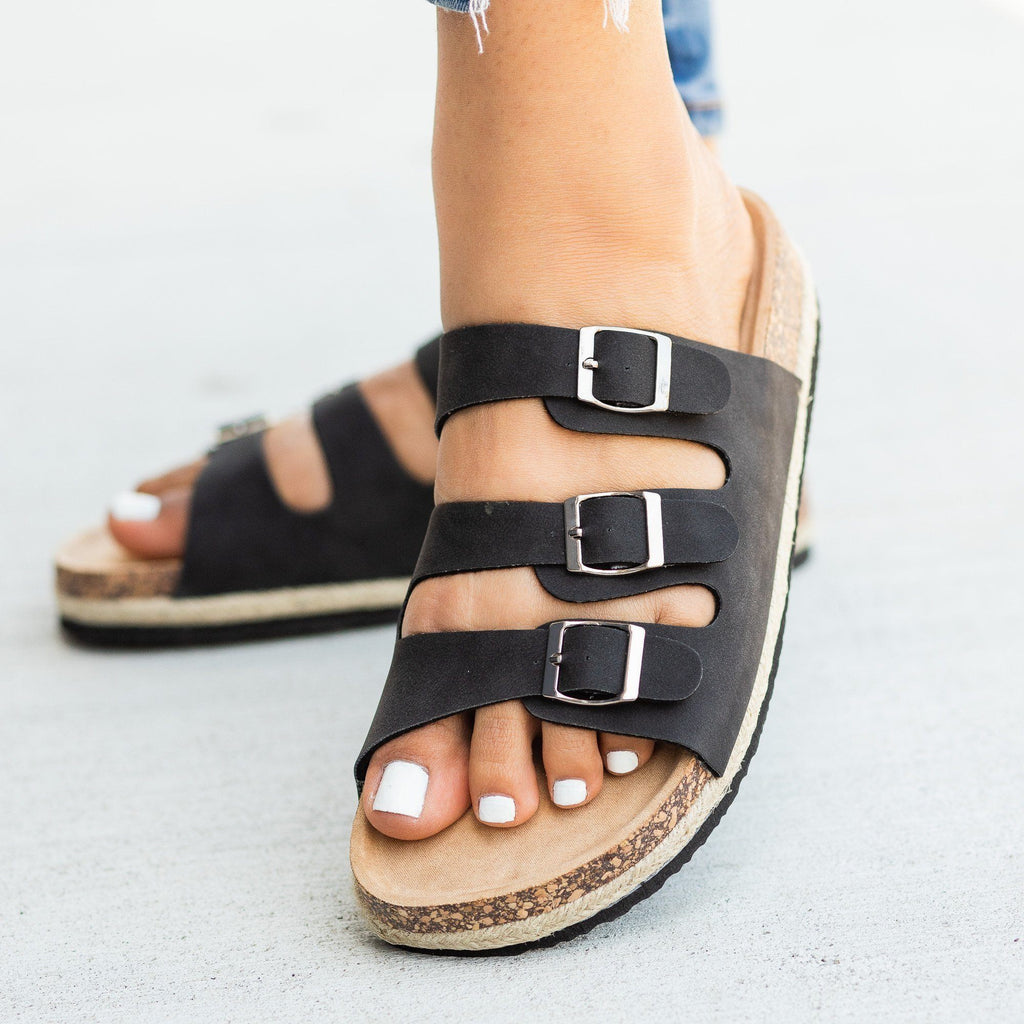 Womens Esparto-Trimmed Cork Slides - Soho Girls