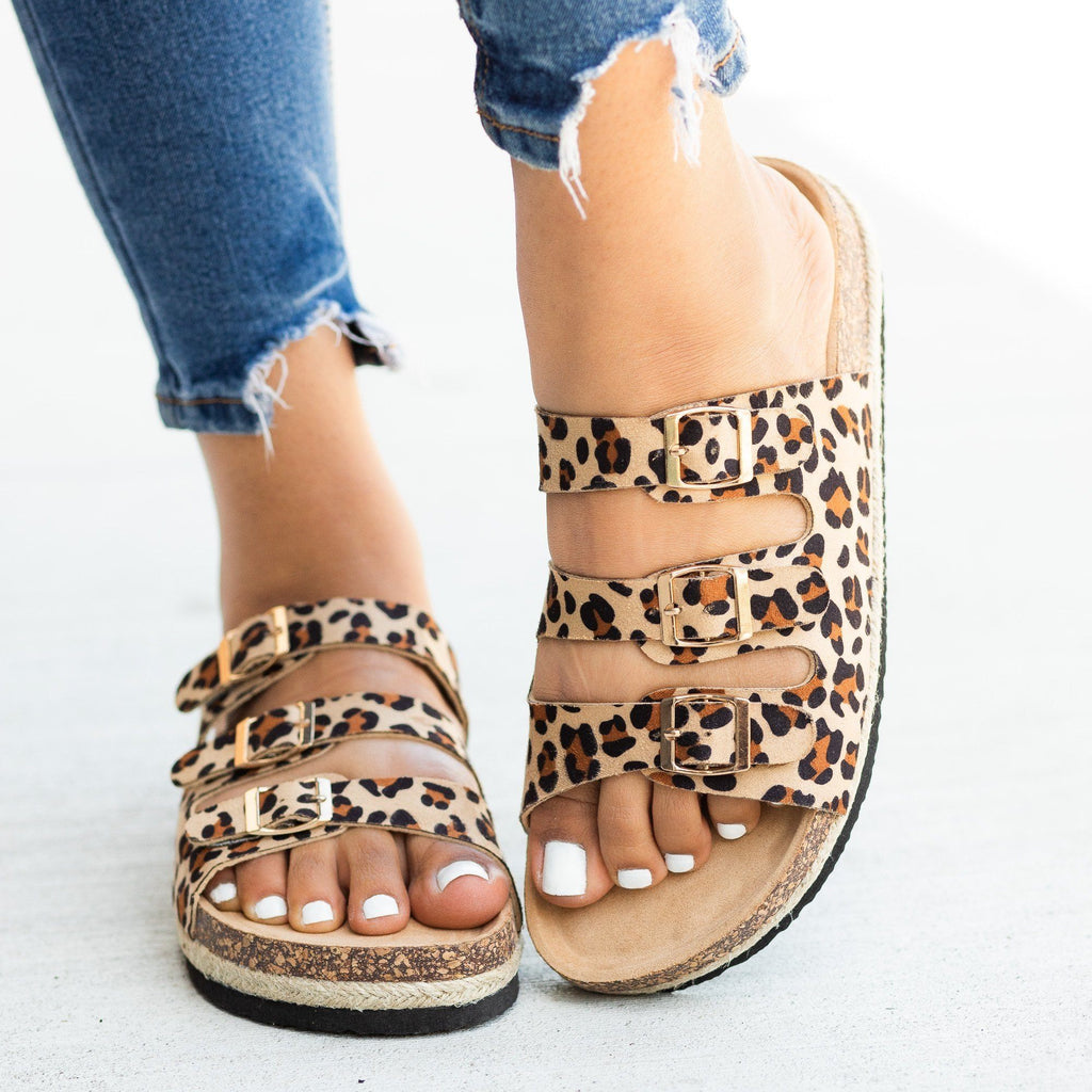 Womens Esparto-Trimmed Cork Slides - Soho Girls - Leopard / 5