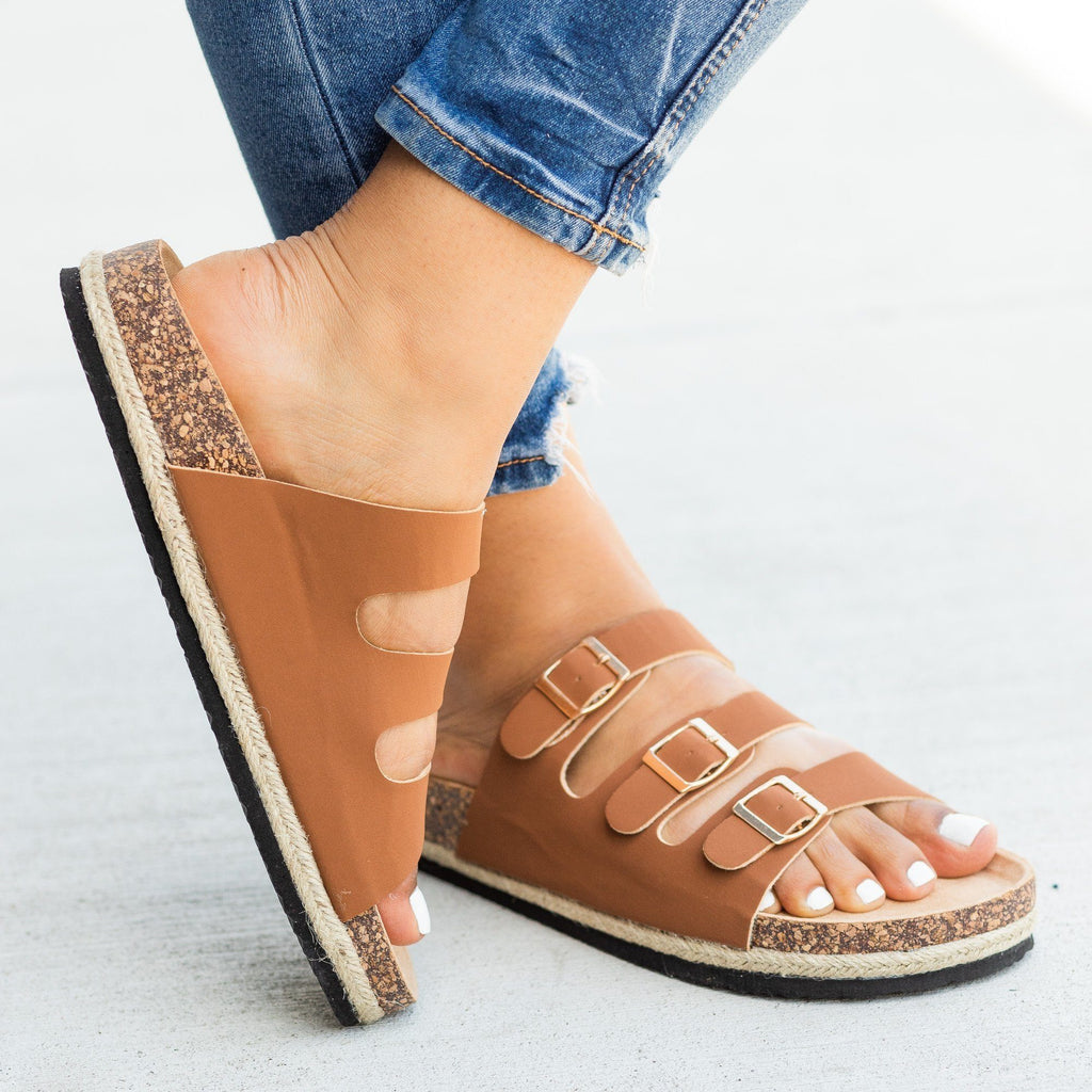 Womens Esparto-Trimmed Cork Slides - Soho Girls - Tan / 5