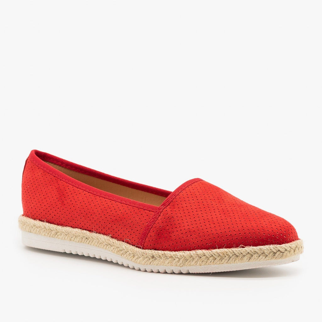 Womens Espadrille Pinhole Slip-On Flats - Pazzle - Red / 5