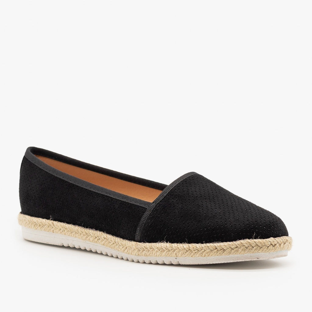 Womens Espadrille Pinhole Slip-On Flats - Pazzle - Black / 5