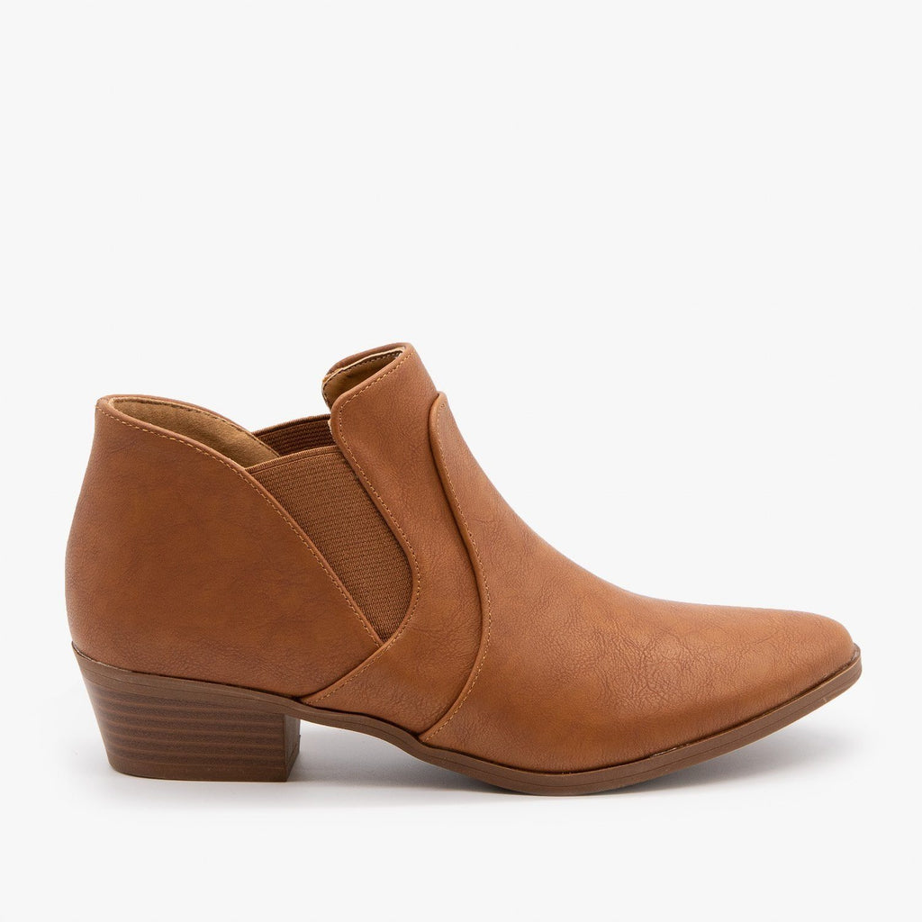 Womens Essential Ankle Booties - Qupid Shoes - Camel / 5