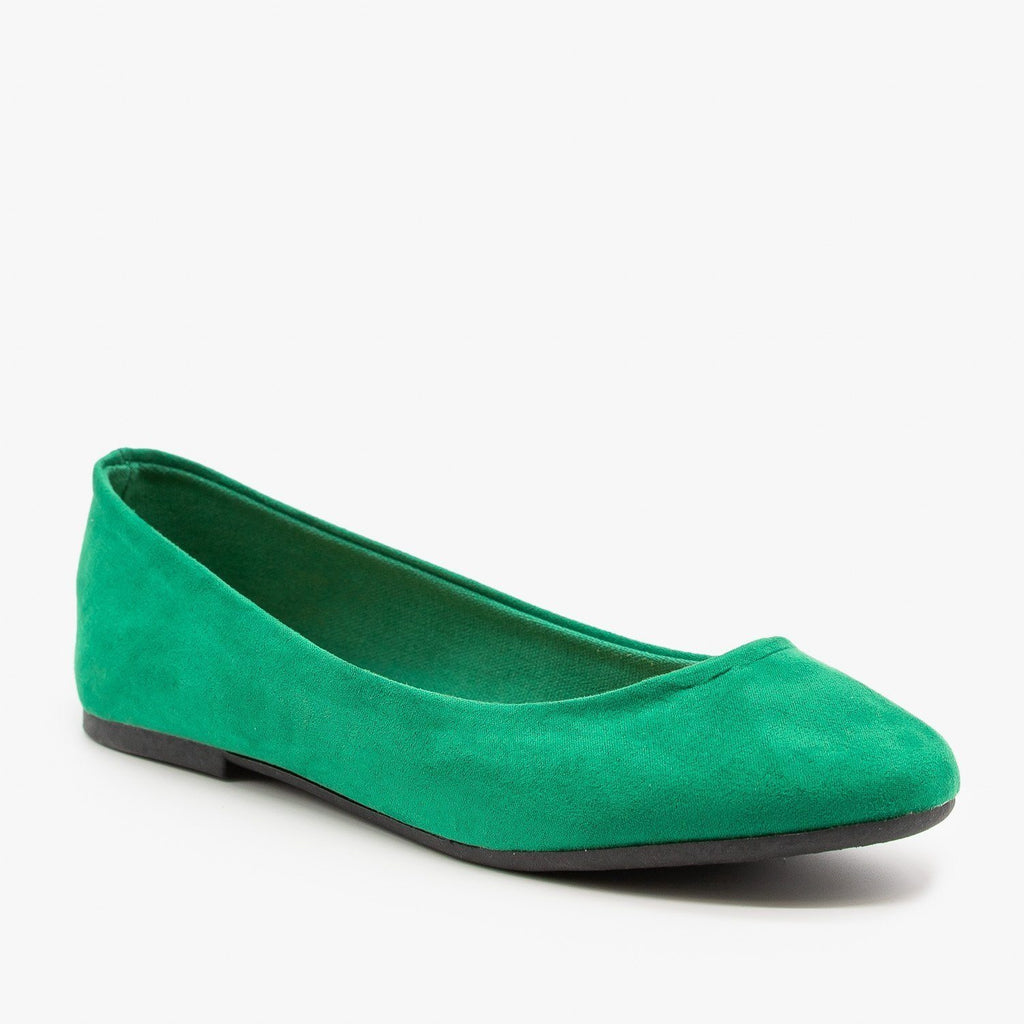 Womens Essential Ballet Flats - Bamboo Shoes - Green / 5