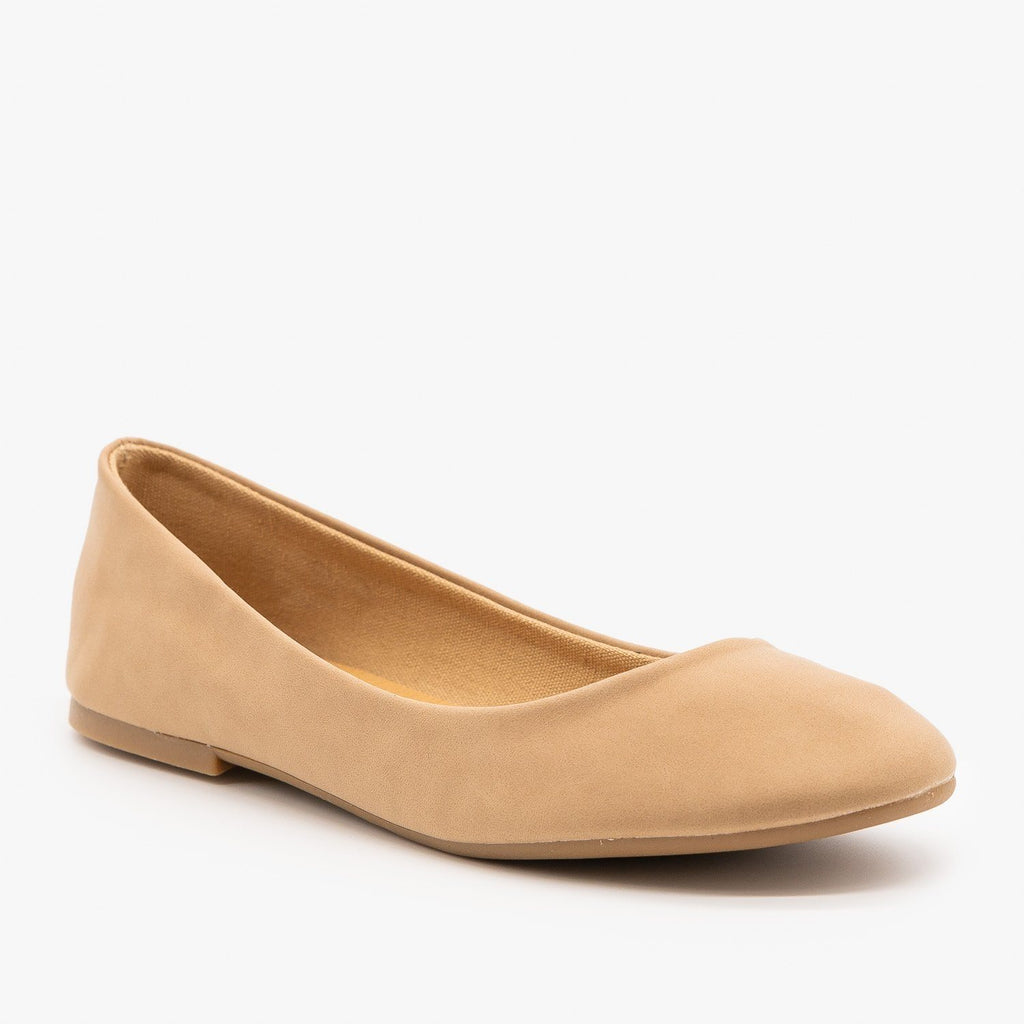 Womens Essential Ballet Flats - Bamboo Shoes - Natural / 5