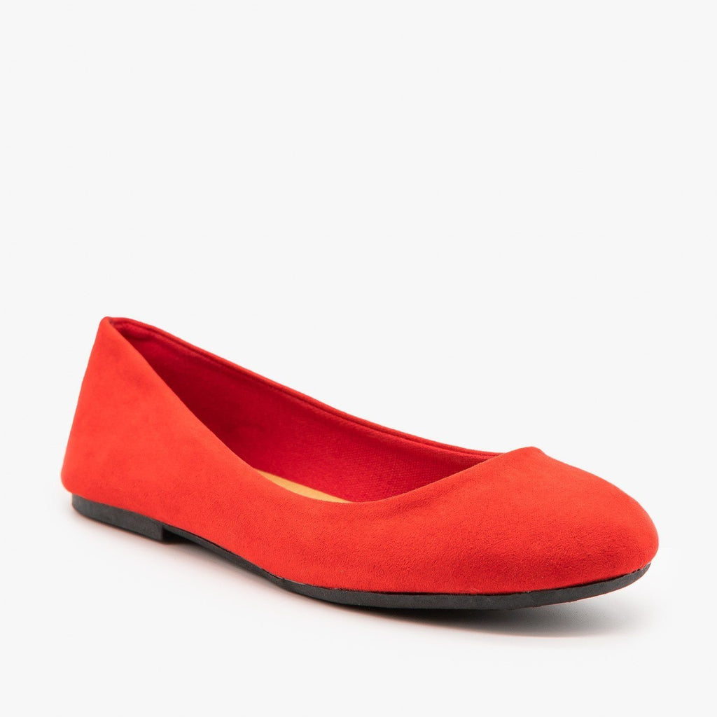 Womens Essential Ballet Flats - Bamboo Shoes - Red / 5