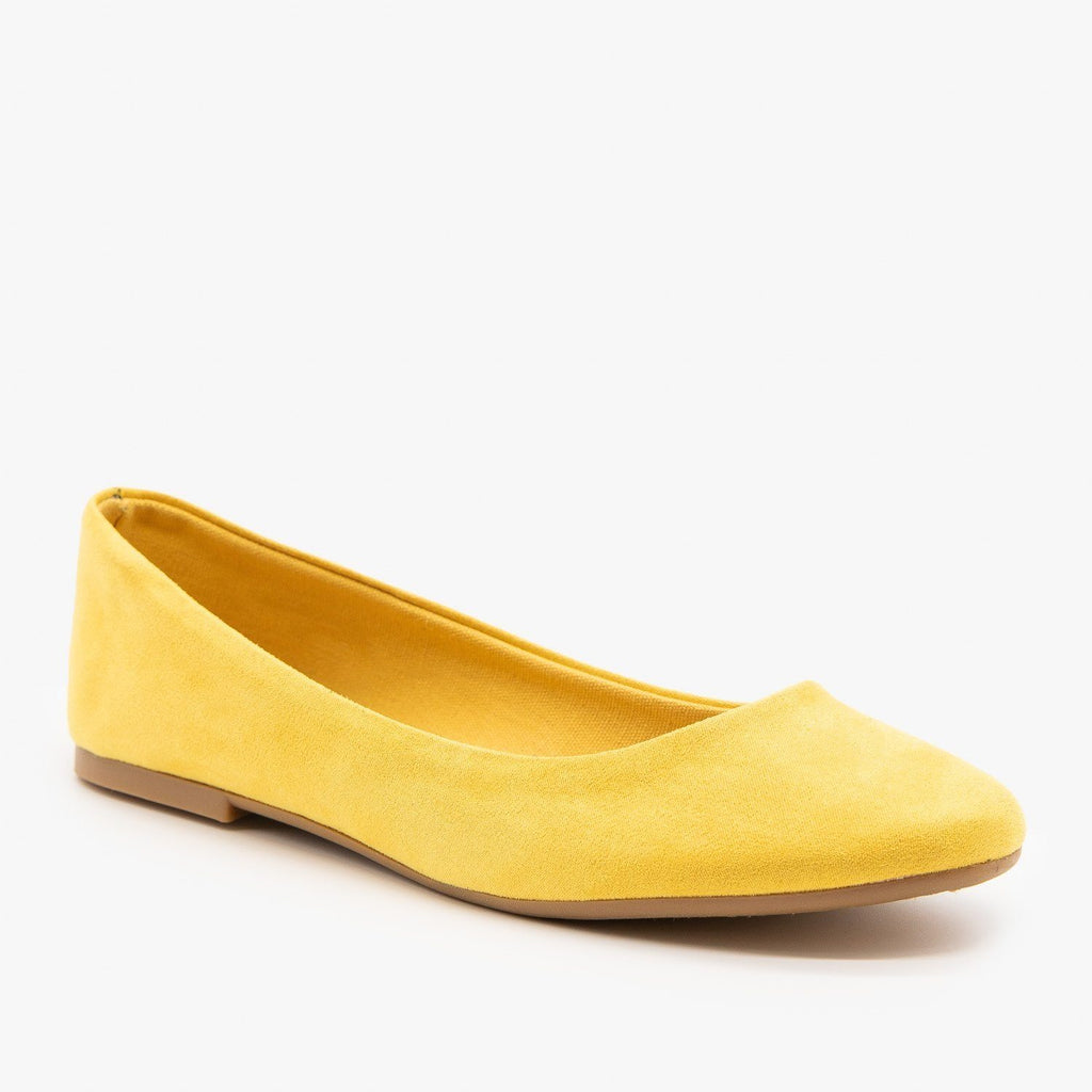 Womens Essential Ballet Flats - Bamboo Shoes - Yellow / 5