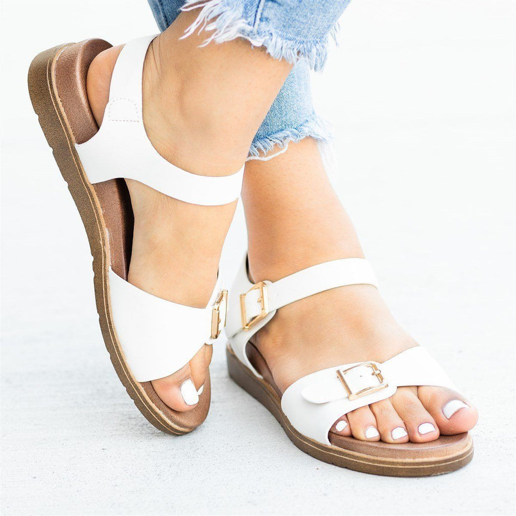 Womens Essential Buckled Sandals - Forever
