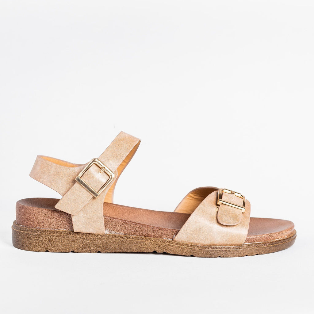 Womens Essential Buckled Sandals - Forever - Taupe / 5