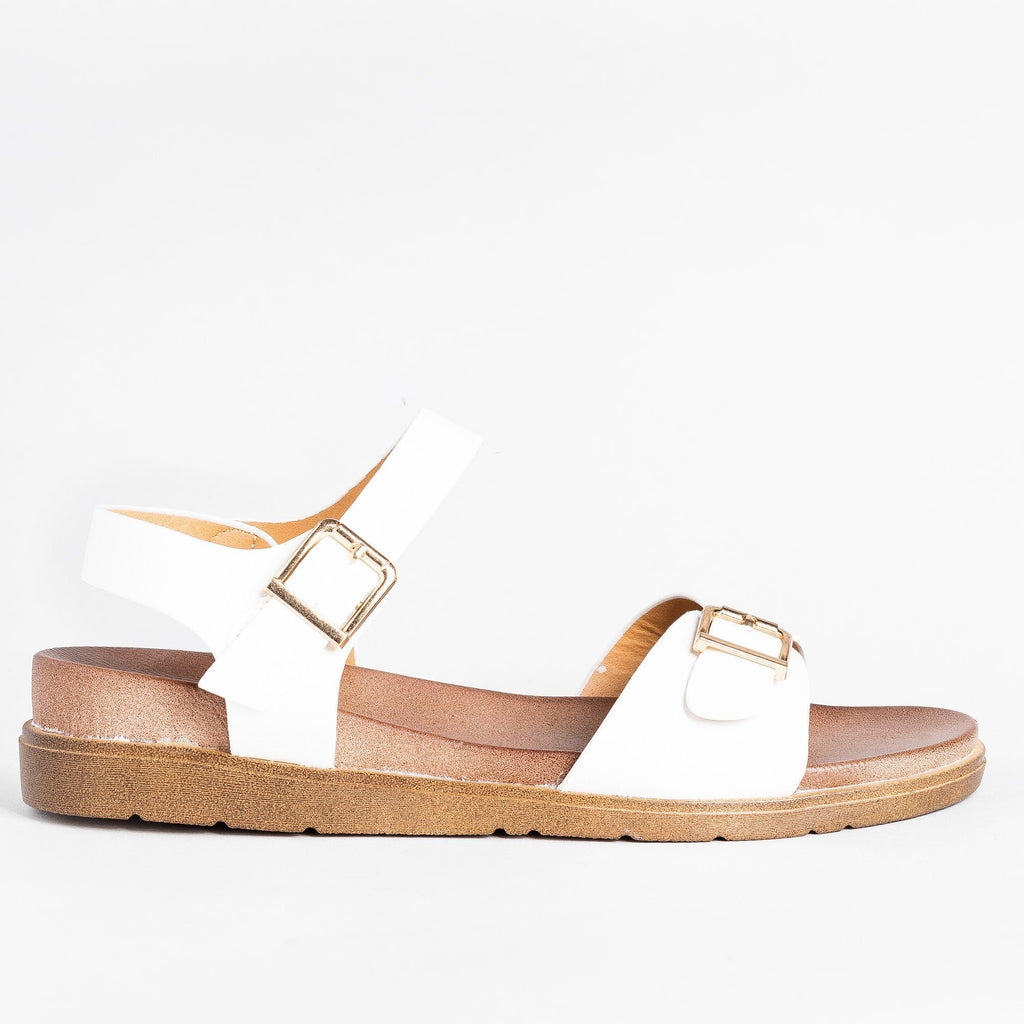 Womens Essential Buckled Sandals - Forever - White / 5